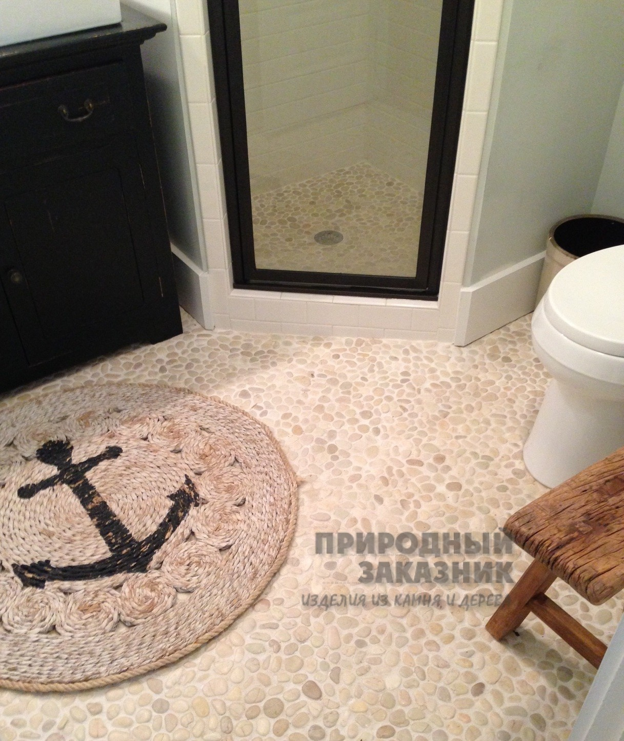 Pebble floor tiles bathroom